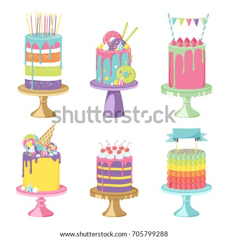 Shutterstock Birthday party celebration cakes. Vector illustration of different types of delicious beautiful modern sweet baked cakes colorful decorated confectioneries with glaze isolated on white.