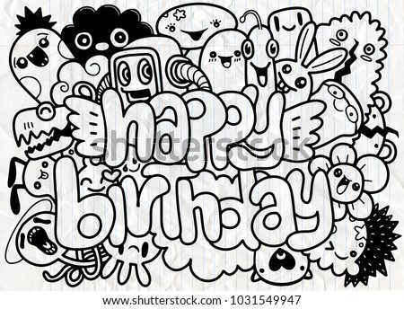 Birthday Party Hand Drawn Doodles Elements Background Handwritten Lettering Happy Greeting Card