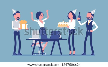 Birthday party in the office. Female happy employee in celebration and giving gifts by friends, coworkers assemble for interaction, entertainment at workplace. Vector illustration, faceless characters