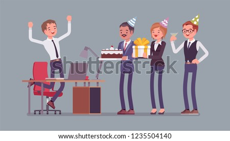 Birthday party in the office. Male happy employee in celebration and giving gifts by friends, coworkers assemble for interaction and entertainment at workplace. Vector flat style cartoon illustration