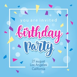Birthday Party Invitation Banner Template with Hand Written Calligraphy. Vector Illustration