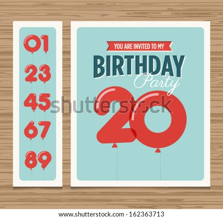 Birthday party invitation card, balloons numbers, vector design template