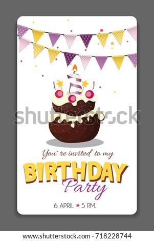 Birthday Party Invitation Card Template Vector Illustration Eps10