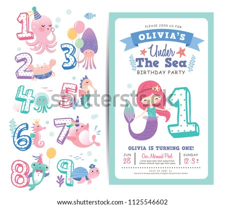 Vector Mermaid Birthday Invitation Download Free Vector Art Stock
