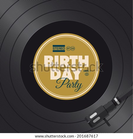 Birthday party invitation card Vinyl illustration background vector design editable