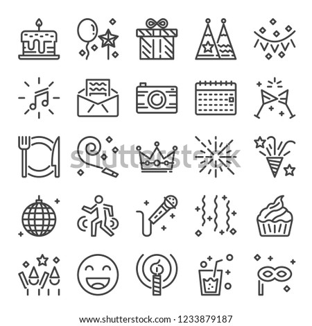 birthday party pixel perfect icons, vector editable stroke (48x48)