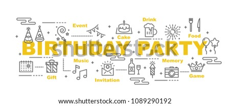 birthday party vector banner design concept, flat style with icons