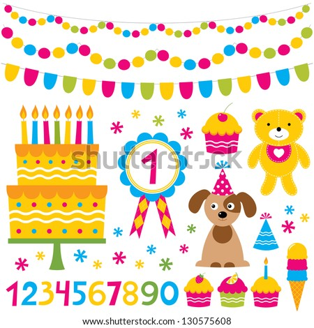 Birthday party vector design elements set