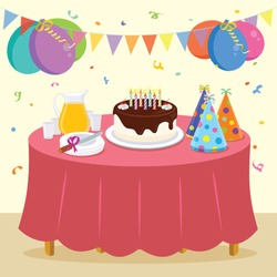 Birthday party. Vector illustration of kid birthday party.