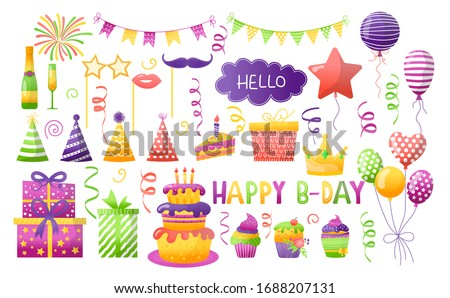 Birthday party vector illustration set. Cartoon element for fun happy anniversary day celebrate, surprise gift decoration balloon on birthdate, cake, party carnival hat or flag icons isolated on white
