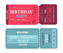 Birthday party welcome, card with date and place, free drinks and fun, complimentary ticket, collection vector illustration isolated on white
