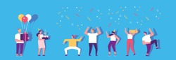 Birthday party with cake and colorful balloons. People dancing and having fun. Friendship. Celebration. Flat vector illustration.