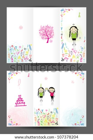 Birthday postcard, cover page. Design for your print