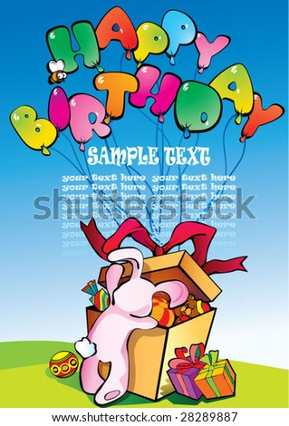 Birthday postcard with bunny and place for sample text. Vector art-illustration.