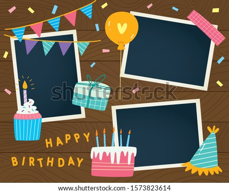 Birthday scrapbook with photo templates and cute sticker decorations