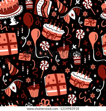 Birthday Seamless Pattern. Hand Drawn Celebration Elements on Dark Background.  #1214983918