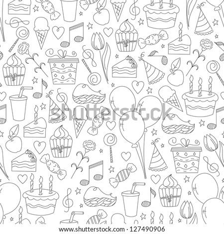 Birthday seamless pattern. Hand drawn sketch illustration