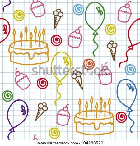 birthday seamless pattern on paper page