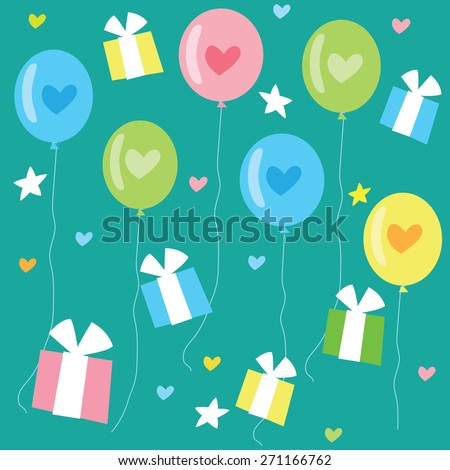 Birthday seamless pattern with color balloons, hearts and gifts.Vector background illustration.