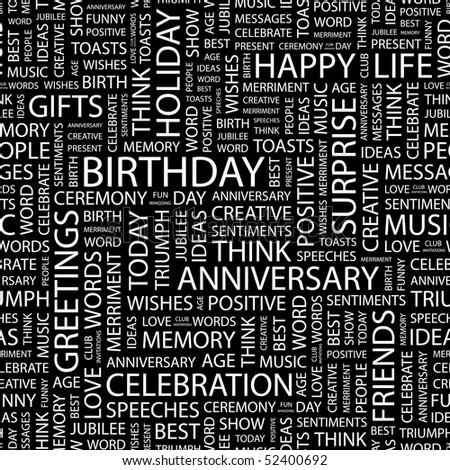 BIRTHDAY. Seamless vector background. Wordcloud illustration.