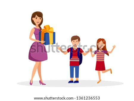 b272d70e69 Birthday Surprise, Celebration Flat Illustration. Happy Girl and Boy with  Young Mom Cartoon Character
