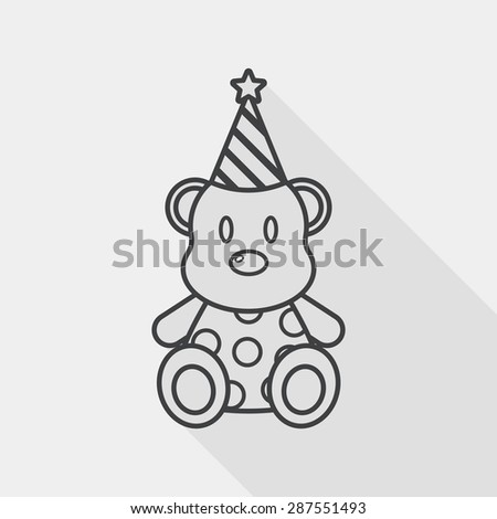 birthday teddy bear flat icon