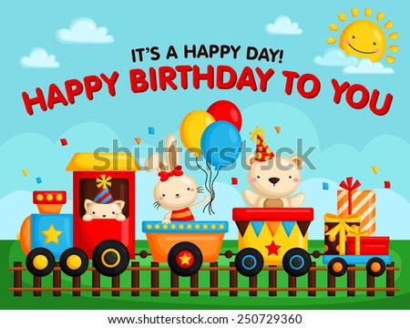 birthday train card