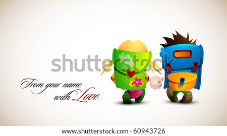 Birthday, Valentine Love Card | Boy and girl holding hand walking together | Detailed Vector Illustration | Layers named accordingly