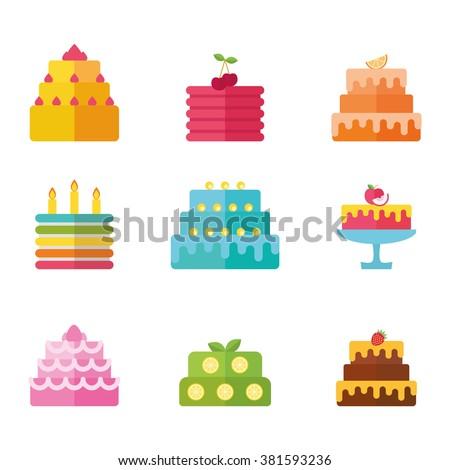 Birthday vector cake icon design element isolated illustration set