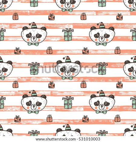 birthday vector seamless pattern with cute baby panda endless