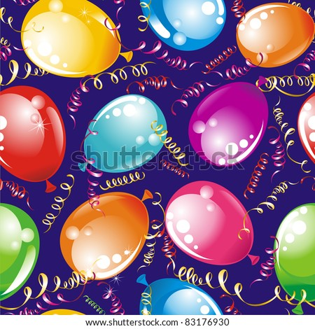 Birthday wallpaper. Party seamless background streamers and multicolored balloons