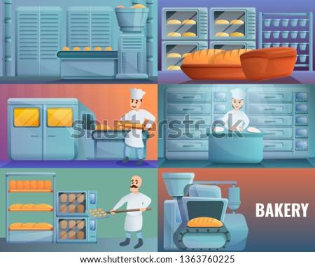 Biscuit dough machine banner set. Cartoon illustration of biscuit dough machine vector banner set for web design Stock photo ©