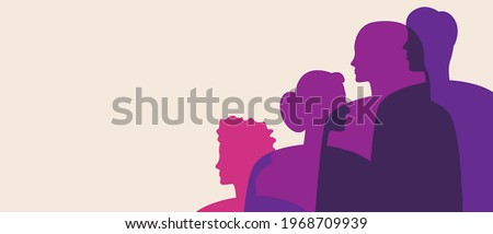 Bisexual people, copy space template. Silhouette vector stock illustration. Blank backdrop for design. Bisexual men and women as a concept of bisexuality. Silhouette illustration Stockfoto ©