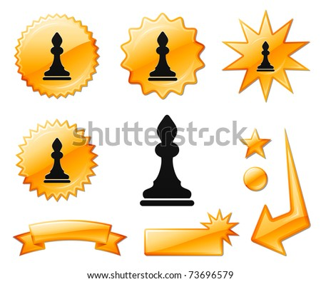 Bishop Chess Icon on Orange Burst Banners and Medals Original Vector Illustration