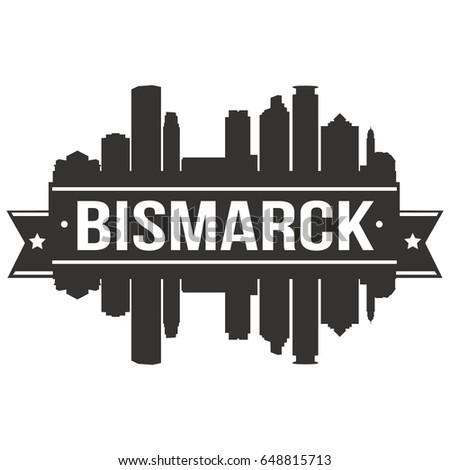 Bismarck Skyline Silhouette Design City Vector Art