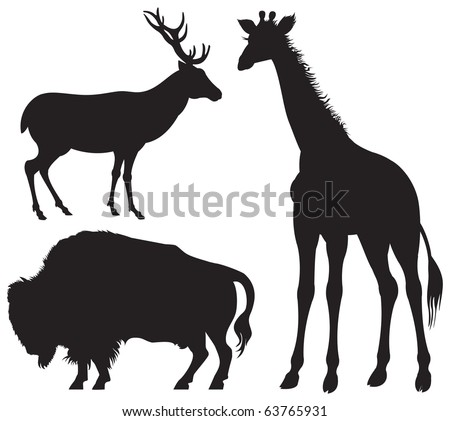 Bison, Deer and Giraffe, American, European and African herbivore wild animal silhouettes, vector image