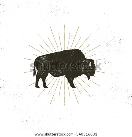 Bison icon silhouette. Retro letterpress effect. Buffalo symbol with sunbursts isolated on white background. Use for steak house logo, infographics, logotype. Vector design..