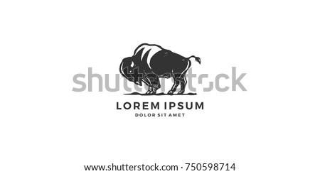 bison logo vector icon vintage handdrawing download