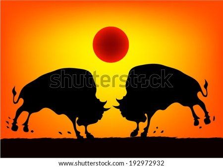 bison on the prairie at sunset