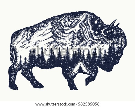 Bison tattoo art. Buffalo bull travel symbol, adventure tourism. Mountain, forest, night sky. Magic tribal bison double exposure animals