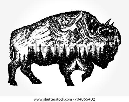 Bison tattoo art. Mountain, forest, night sky. Magic tribal double exposure animals. Buffalo bull travel symbol, adventure tourism
