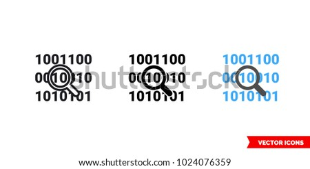 Bit byte icon of 3 types: color, black and white, outline. Isolated vector sign symbol.