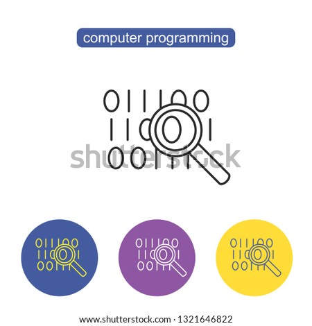 Bit byte line icon. Binary code simple icons in color rounded square frames on white background. Magnifying glass with program coding vector illustration. Editable stroke.