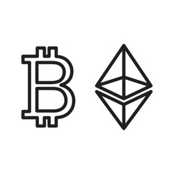 Bitcoin and Ethereum cryptocurrency icon. Vector.