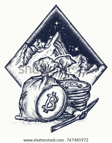 Bitcoin and mountains, new gold rush tattoo and t-shirt design. Cryptocurrency mining symbol. Golden coins.