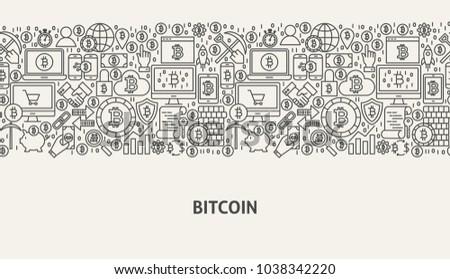 Bitcoin Banner Concept. Vector Illustration of Line Web Design.