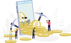 Bitcoin Blockchain cryptocurrency concept. golden coin of cryptocurrency come out from mobile phone in minimal design with  background of tree leaves. Minimal investments for bitcoin and blockchain