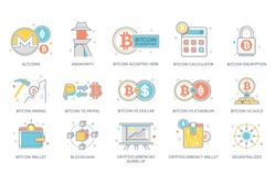 Bitcoin, blockchain & cryptocurrency flat icons. Altcoins, anonymity, bitcoin mining, calculator, encryption, paypal, dollar, ethereum wallet, cryptocurrencies going up, decentralized vector.