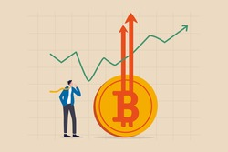 Bitcoin BTC price soaring sky high hit new high record concept, businessman investor look high at rising up arrows from Bitcoin symbol with green chart and graph.