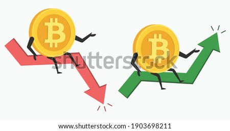 Bitcoin cartoon character in bullish or bearish market trend in crypto currency. Green up or red down arrow graph. Cryptocurrency BTC coin price illustration. Bitcoin crash or boom. Vector Photo stock ©